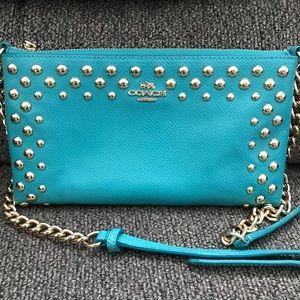 Teal Coach Crossbody w/ matching wallet